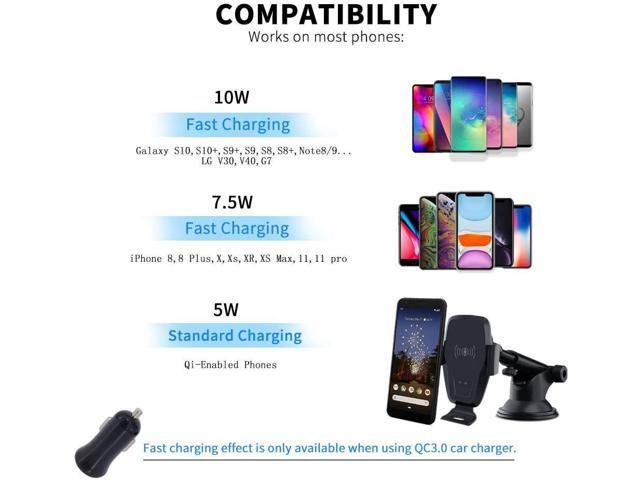 Wireless Car Charger,1 KAIHDA 10W Qi Fast Charging Auto-Clamping Car Mount,Windshield Dash Air Vent Phone Holder Compatible iPhone 11//11 Pro//11 Pro Max//Xs MAX//XS//XR//X//8//8+,Samsung S10//S10+//S9//S9+//S8//.