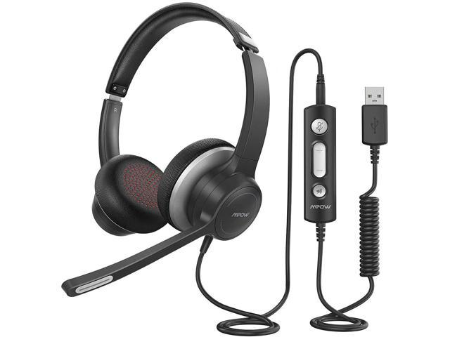 Mpow Hc6 Usb Headset With Microphone Comfort Fit Office Computer Headphone On Ear 3 5mm Jack Call Center Headset For Cell Phone 270 Degree Boom Mic In Line Control With Mute For Skype Webinar Newegg Com