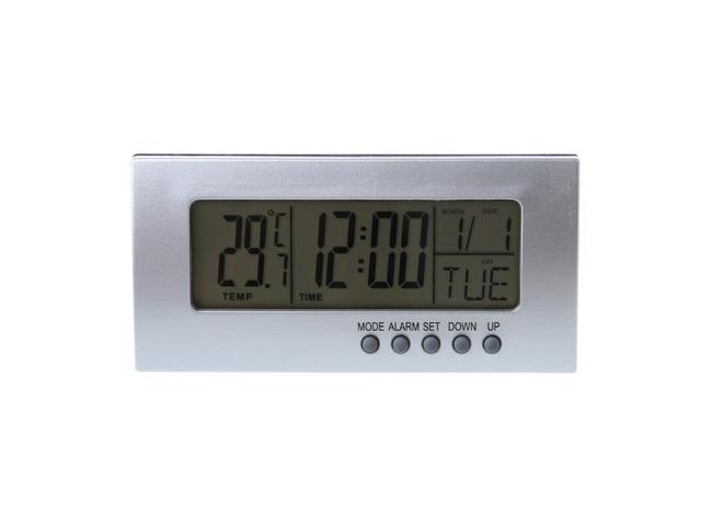 Digital Snooze LCD Alarm Clock Time Calendar Thermometer Temperature  Desktop - Newegg com