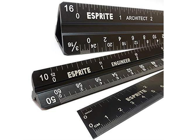 Architectural Scale Ruler | Architectural Scale Ruler Engineering Scale And 12 Inch Metal Ruler Set Hollow Architecture Ruler With Solid Engineer Triangular Laser Etched Metal
