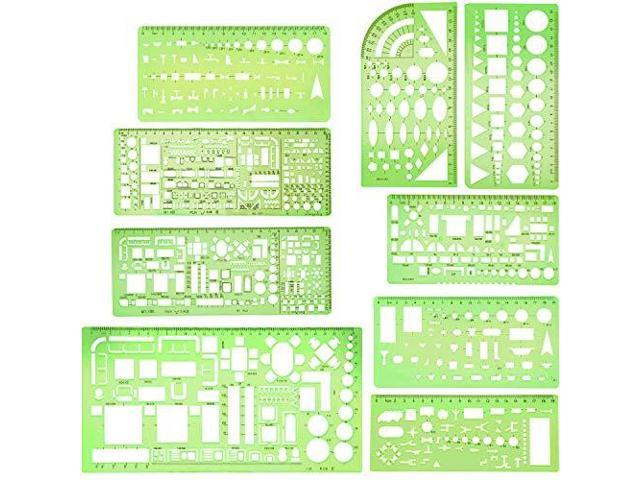BOAO 9 Pieces Geometric Drawing Templates Clear Green Building Formwork Stenc...