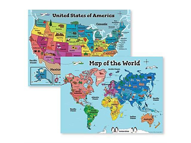 USA Wall Map amp Kids World Map for Kids Wall Laminated Maps for Kids 2  Classroom Posters Perfect for Map Art 18x24 Laminated 2 Wall Maps Included  - ...