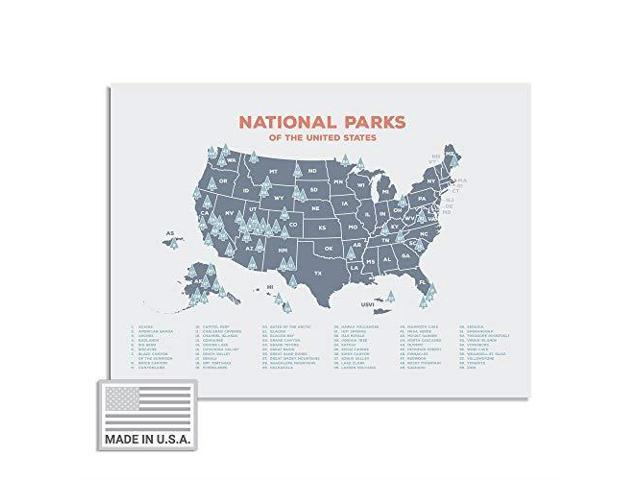 Kindred Sol Collective USA National Park Map 24 x 17 Interactive  Educational National Park Poster of All 59 US National Parks Made in The  USA on