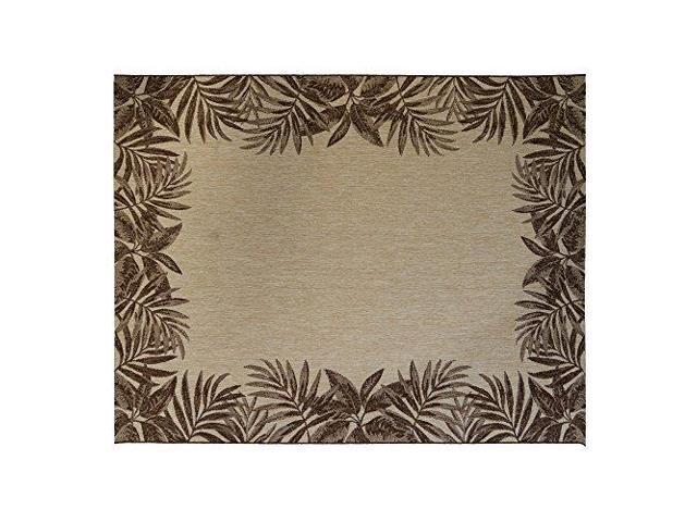 Gertmenian 21490 Coastal Tropical Carpet Outdoor Patio Rug Black Border Dark 5x7 Standard