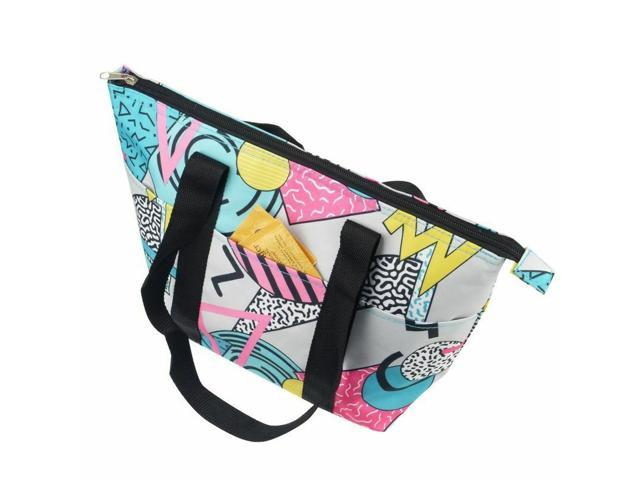 Insulated Geom Colorway Zip Shoulder Lunch Picnic Cooler Bag Tote Carry Bag