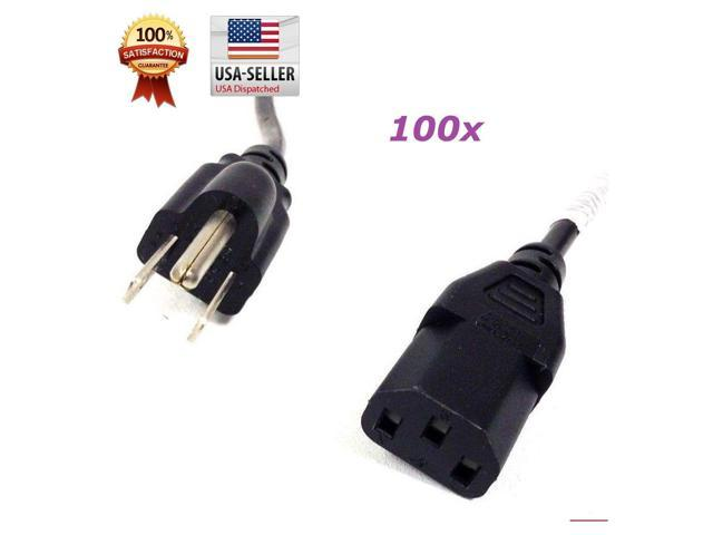 Lot of 100 pcs Computer PC Monitor 3-Prong 6ft Power Cord Cable IEC320