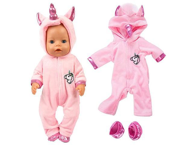 2pcSet Unicorn Costume Jumpsuit Doll Clothes with Shoes for 43 cm New Born Baby Dolls 15 inch Dolls Pink