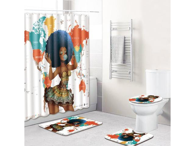 African Fashion Girl Shower Curtain Non-Slip Floor Bath Mat Rug Lid Toilet Cover
