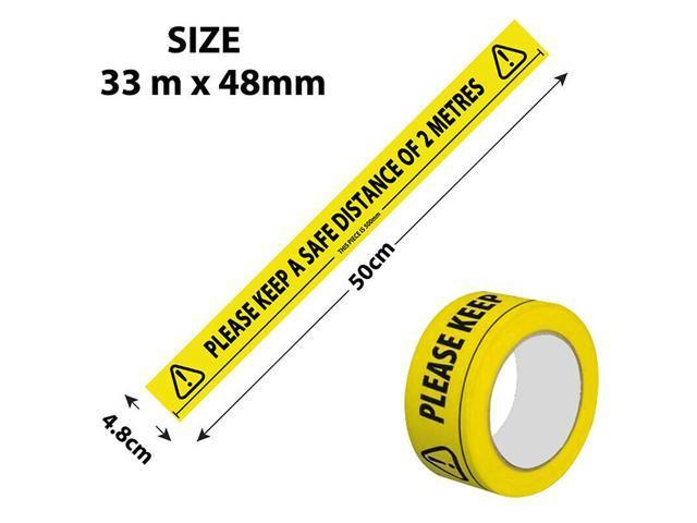 Social Distancing Floor Tape Yellow Hazard Safe Distance 2 Metres 48mm x 33m