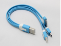 Flat Noodle 3 in 1 Sync Charger USB Data Cable for iPhone 5/4S iPad SAMSUNG HTC