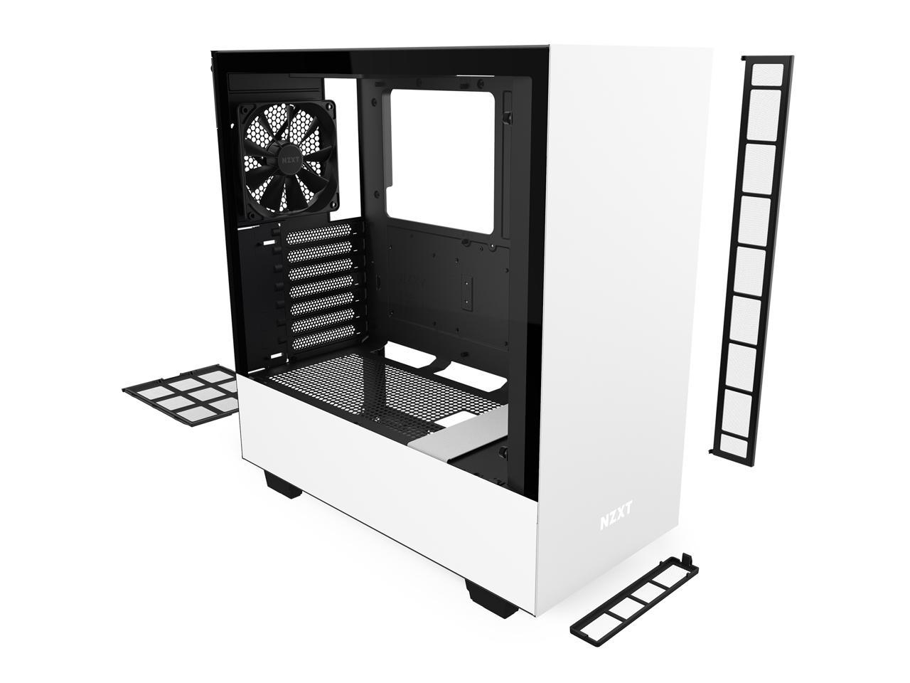 Nzxt H510 Compact Atx Mid Tower Pc Gaming Case Front I O Usb Type C Port Tempered Glass Side Panel Cable Management System Water Cooling Ready Steel Construction White Black