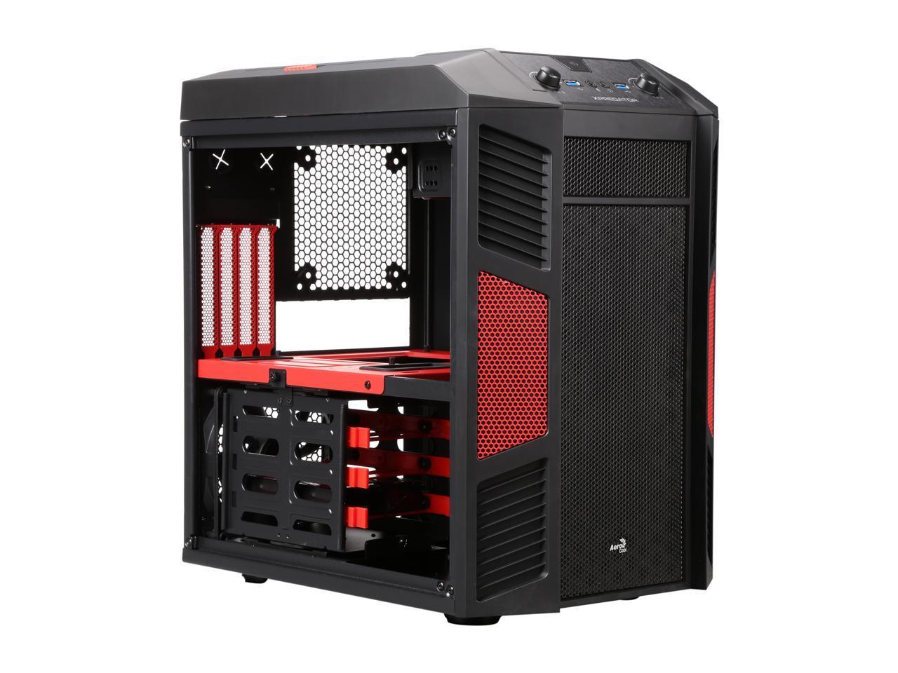 aerocool xpredator cube red computer case newegg com aerocool xpredator cube red steel mini itx cube computer case