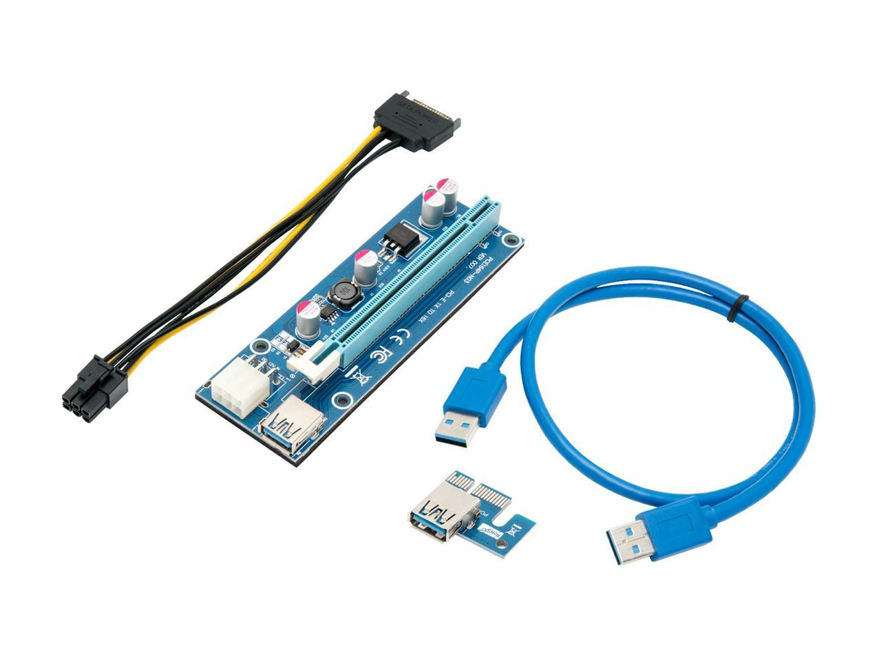 Lot USB 3.0 PCI-E Express 1x To 16x Extender Riser Card Adapter 6PIN Power Cable