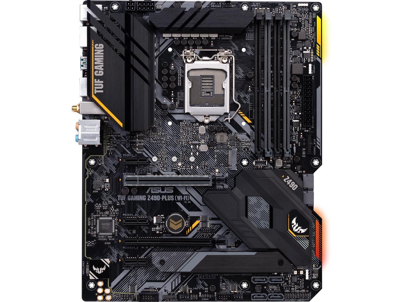 Intel 10th Gen ATX Motherboard 12+2 Power Stages, USB 3.2 Front Panel Type-C, 1Gb LAN, Addressable Gen 2 RGB Header /& Aura Sync ASUS TUF Gaming Z490-Plus LGA 1200