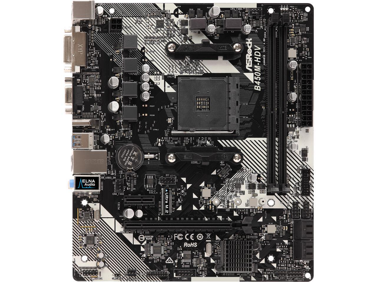 Newegg: ASRock B450M-HDV R4.0 AM4 AMD Promontory B450 SATA 6Gb/s Micro ATX AMD Motherboard @ .99