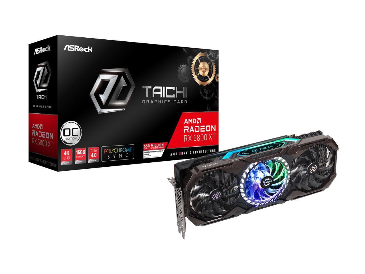 ASRock Radeon RX 6800 XT Taichi Gaming Graphics Card with 16GB GDDR6, AMD RDNA 2 (RX6800XT TCX 16GO)