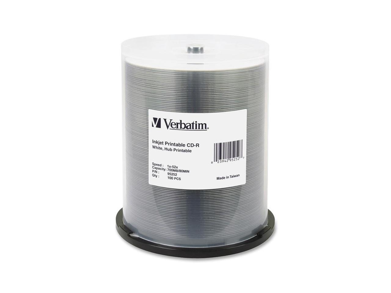 100pk Spindle OQCD52BWIPH-BX Optical Quantum CD-R 700MB 52X White Inkjet Hub Printable Recordable Media Disc