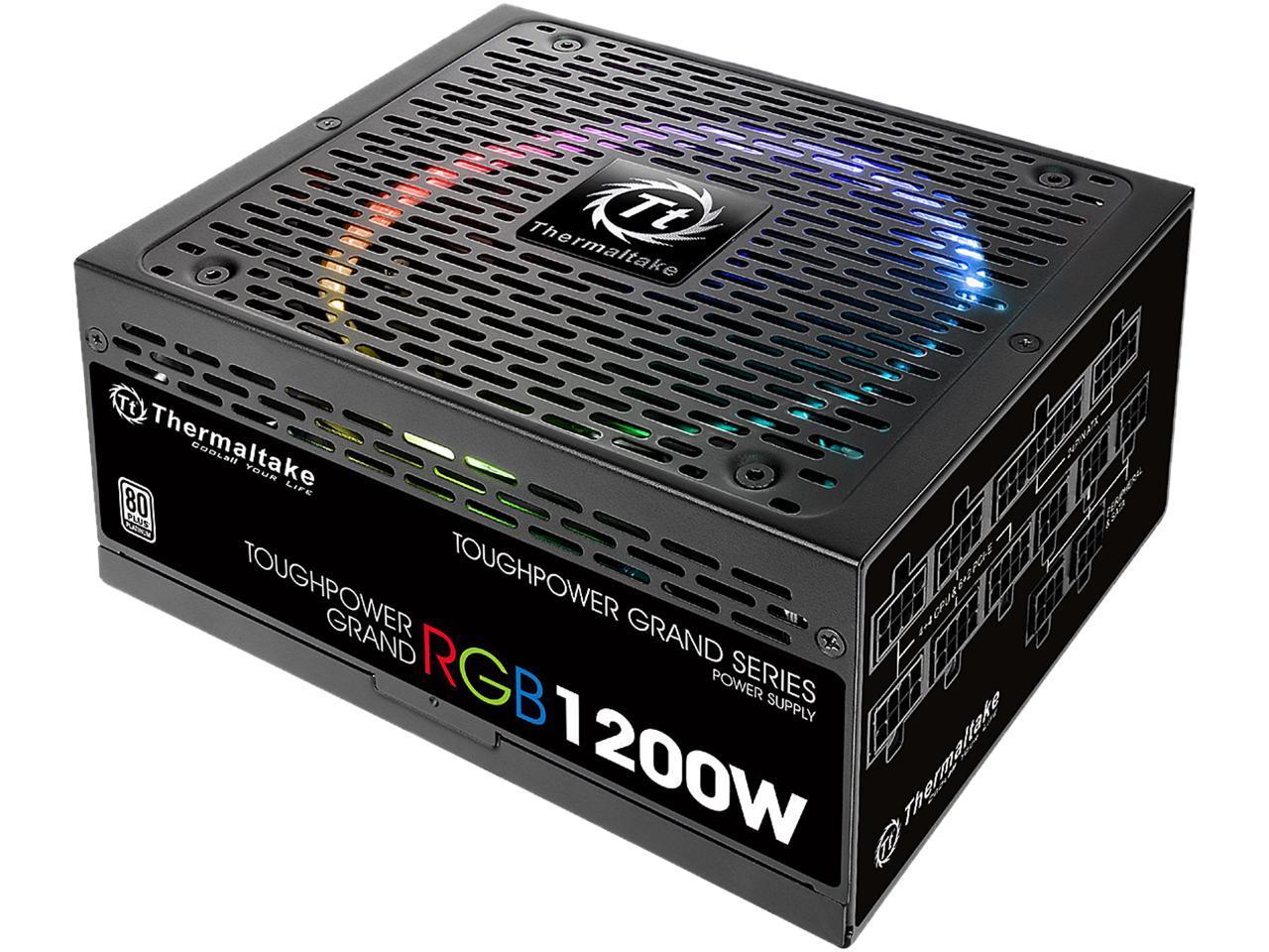 Thermaltake Toughpower Grand RGB 1200W SLI/CrossFire Ready Continuous Power RGB LED Smart Zero Fan ATX12V v2.4 / EPS v2.92 80 PLUS PLATINUM Certified 10 Year Warranty Full Modular Power Supply PS-TPG-1200F1FAPU-1