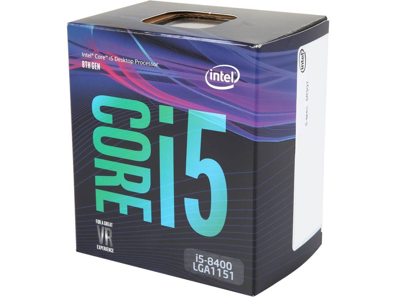 Intel Core I5 8400 Coffee Lake 6 Core 2 8 Ghz 4 0 Ghz Turbo Lga 1151 300 Series 65w Bx80684i58400 Desktop Processor Intel Uhd Graphics 630 Newegg Com