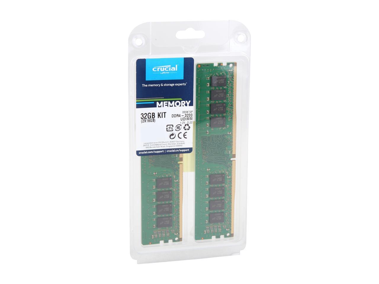 16GB x2 DDR4, 3200 MT//s, PC4-25600, DIMM, 288-Pin Crucial CT2K16G4DFRA32A 32GB Speicher Kit