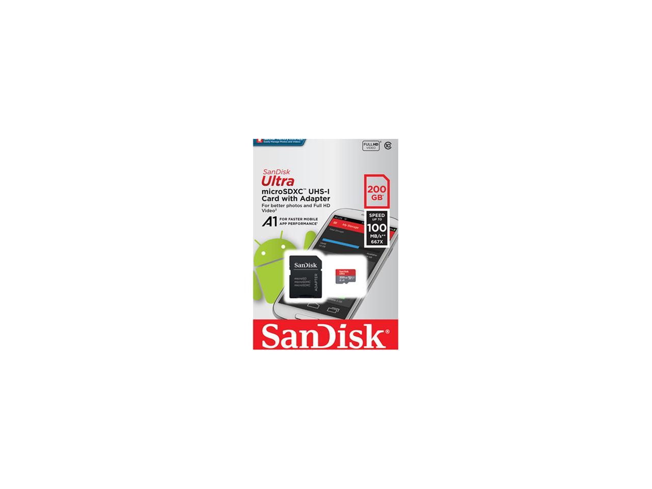 100MBs A1 U1 C10 Works with SanDisk SanDisk Ultra 200GB MicroSDXC Verified for ICEMOBILE Prime 4.0 by SanFlash