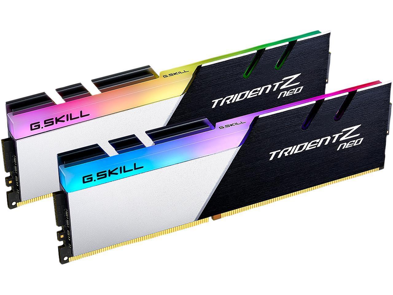 G Skill Trident Z Neo For Amd Ryzen Series 32gb 2 X 16gb 288 Pin Rgb Ddr4 Sdram Ddr4 3200 Pc4 25600 Desktop Memory Model F4 3200c16d 32gtzn Newegg Com