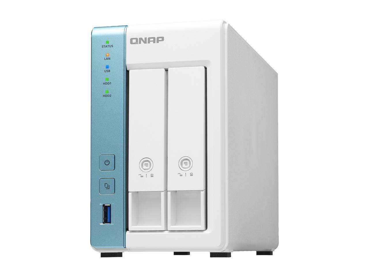 QNAP TS-231K-US 2-Bay Personal Cloud NAS 4-core 1.7Ghz 1GB RAM with Lockable Drive Tray (Diskless)