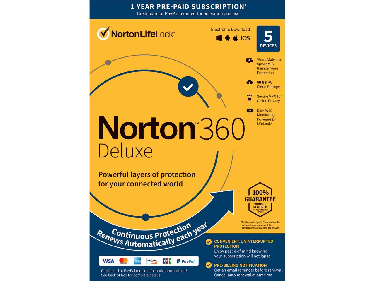 Norton 360 Deluxe - Antivirus Software for 5 Devices with Auto Renewal