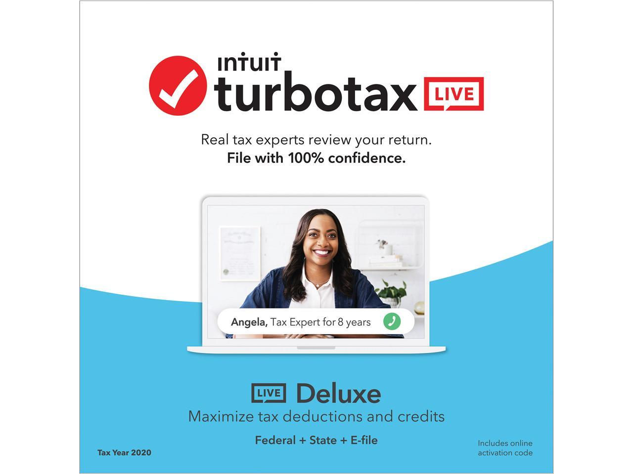 Intuit TurboTax LIVE Deluxe 2020 Online Tax Software, Real ...