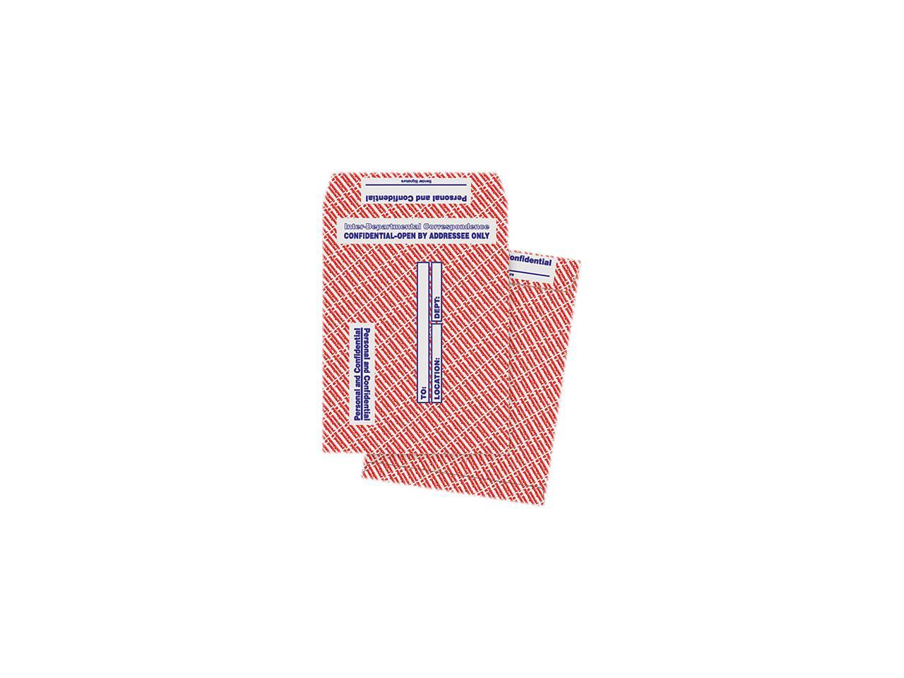 10 x 13 Sold as 2 Box 100//Box 100 Each per Box Gray//Red Paper Gummed Flap Confidential Interoffice Envelope