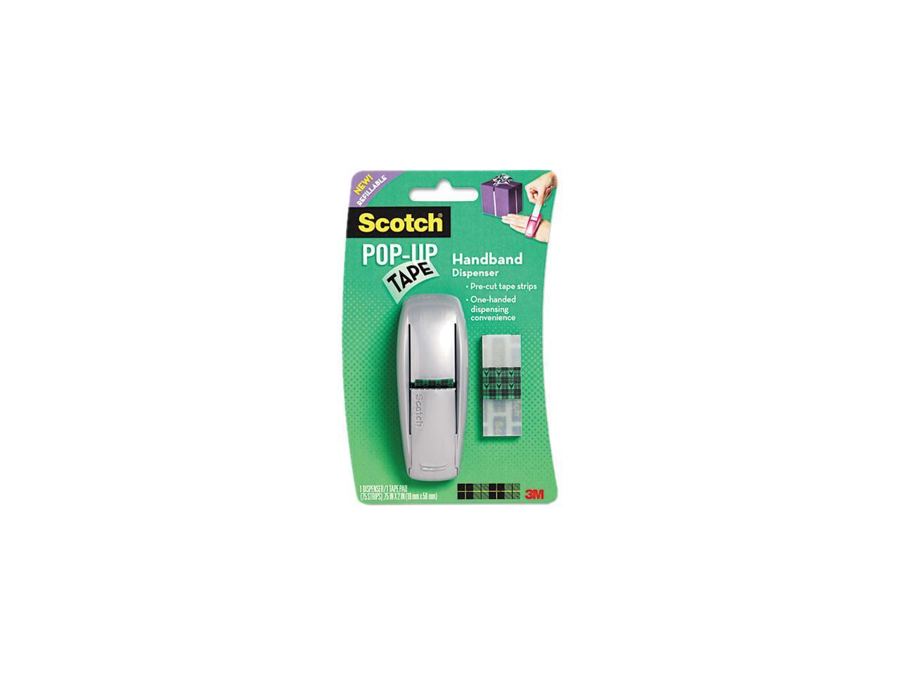75 Strips NEW Scotch Pop Up Tape Dispenser W// 1 Tape Pad