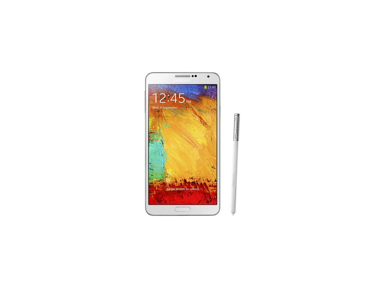 Samsung Galaxy Note 3 N900a 4g Lte 32gb Unlocked Gsm Celll Phone 5 7 White 32gb 3gb Ram Newegg Com