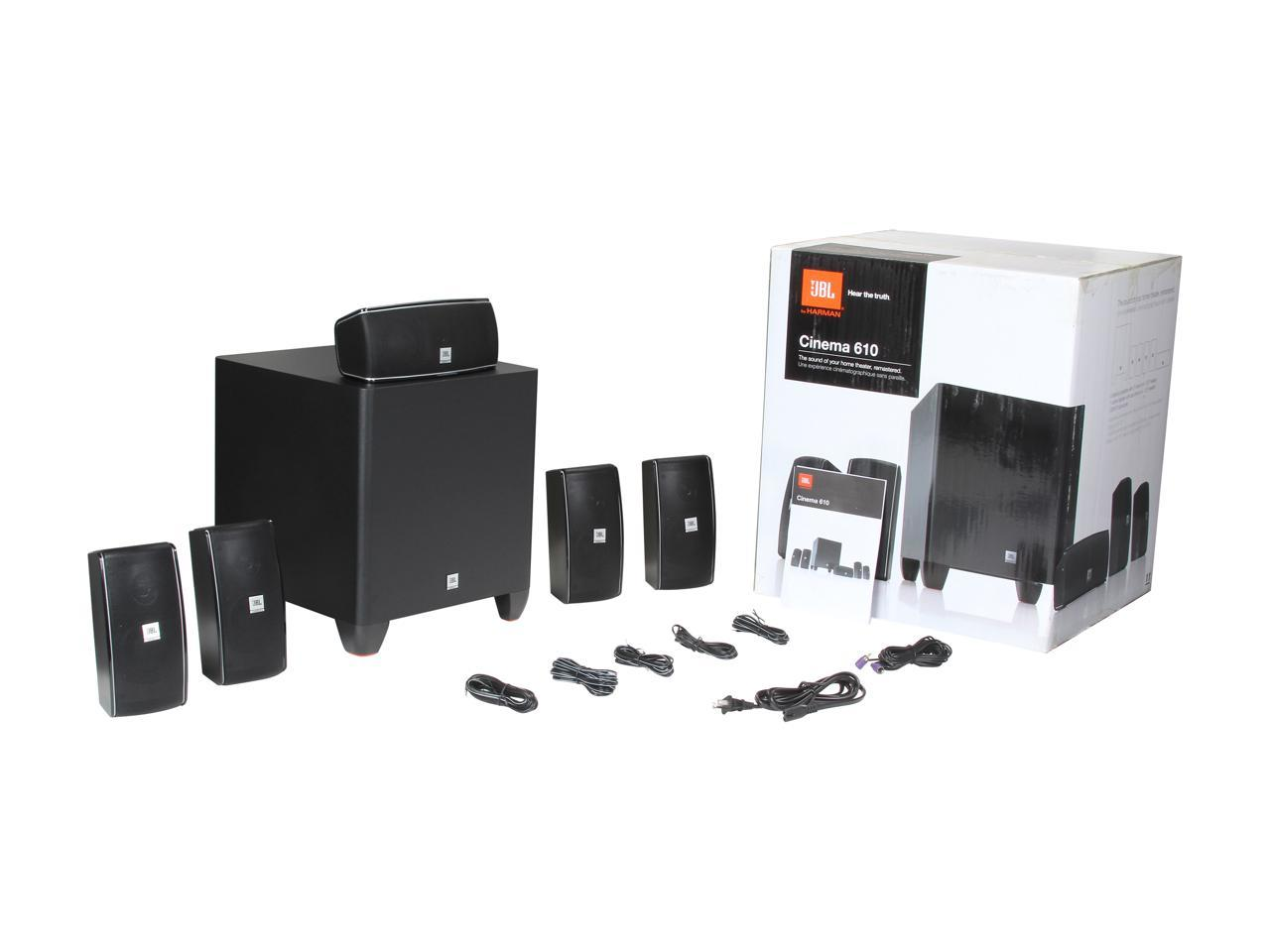 JBL Cinema 610 5.1 CH Home Theater Speakers System with Powered Subwoofer  and Dedicated Center Speaker - Newegg.com