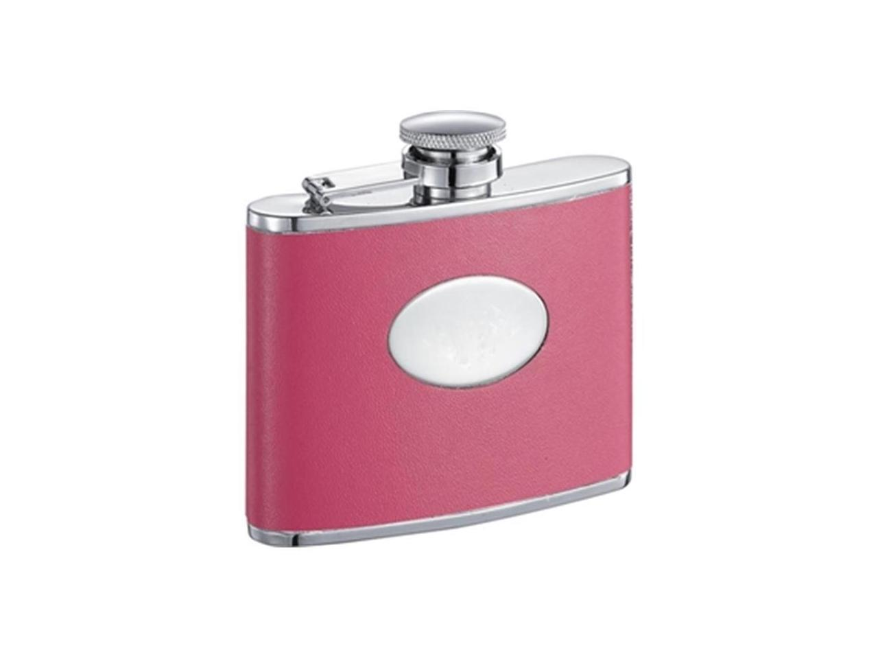 Britney Hot Pink Leather Stainless Steel 4oz Hip Flask Vf1256 Newegg Com