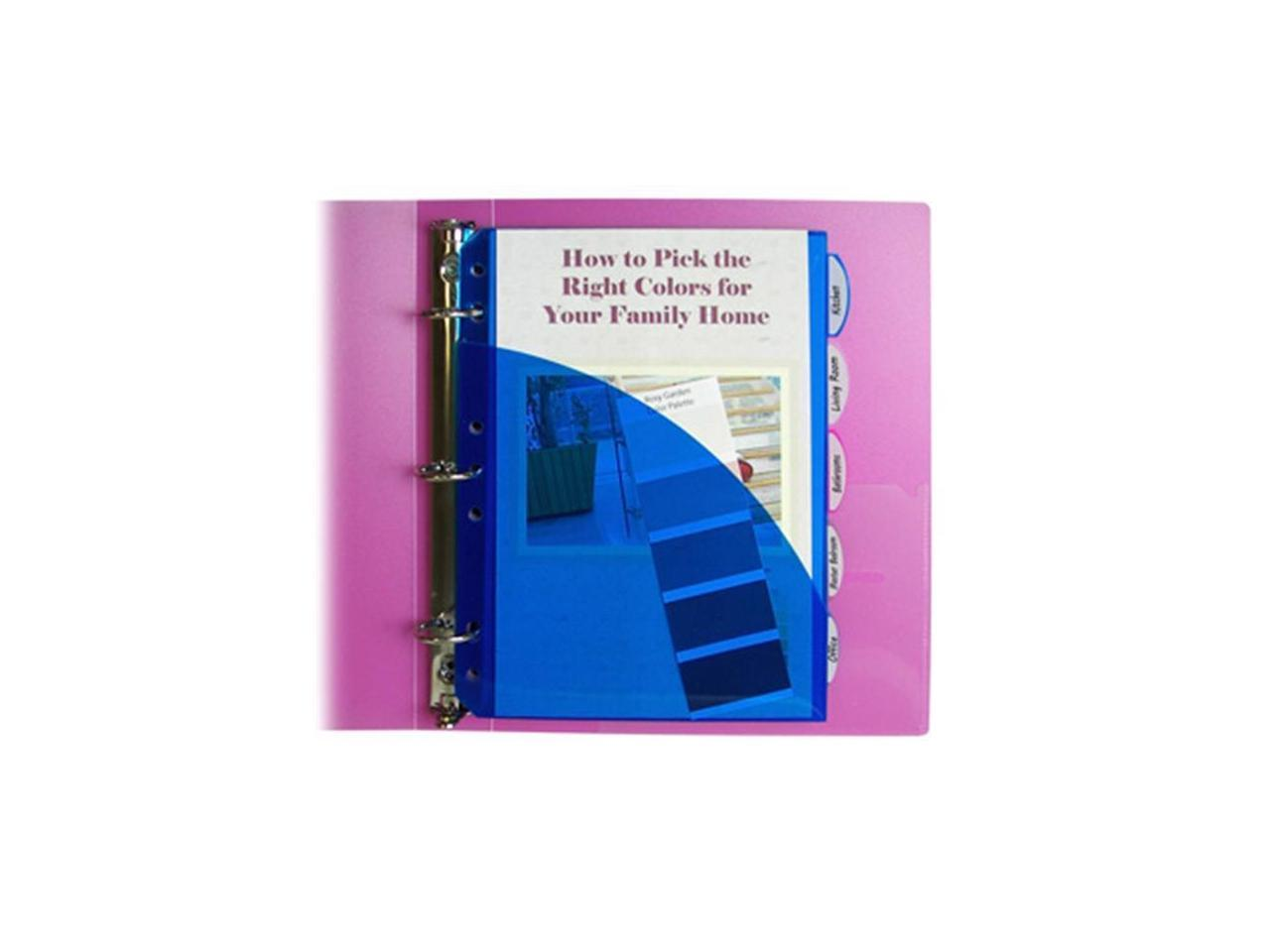 5//PK Mini-Size 5-Tab Poly Index Dividers with Pockets