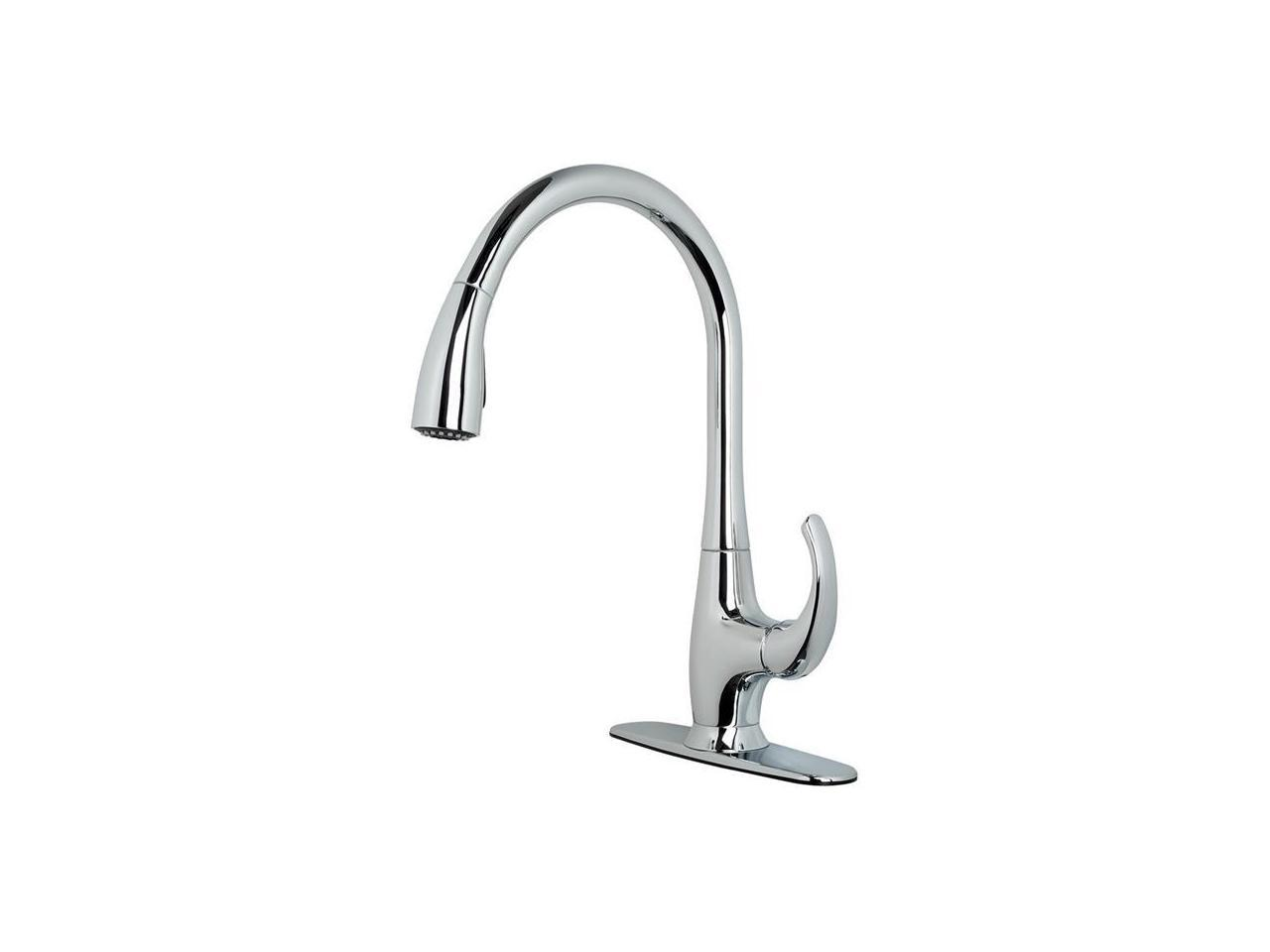 Ultra Faucets Uf13803 15 8 X 9 5 In Stainless Steel Single Handle Kitchen Faucet With Pull Down Spray Newegg Com