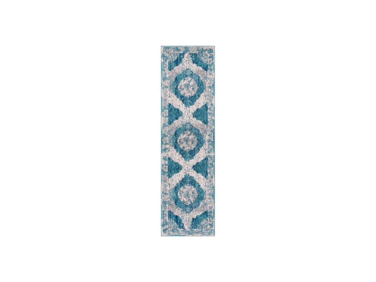21 x 73 Runner Well Woven Areva Machine Washable Teal Blue Vintage Oriental Medallion Flat Pile Runner Rug 2x7