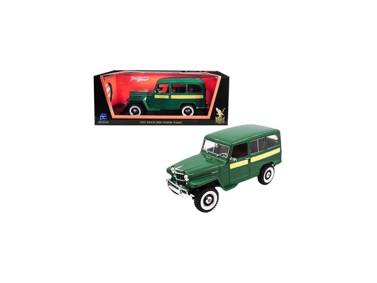 Road Signature 92858grn 1955 Willys Jeep Station Wagon Green With Yellow Stripes 1 18 Diecast Model Car Newegg Com