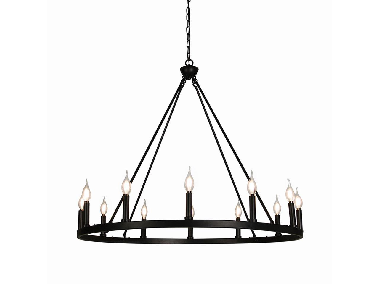 Canyon Home 12 Light Chandelier Wagon Wheel 37 Wide Matte Black Steel Frame Large Home Decoration Foyer Entryway Dining Room Newegg Com