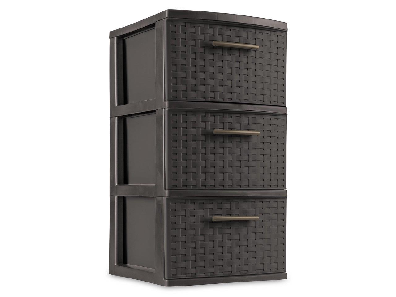 Espresso Sterilite 3 Drawer Wicker Weave Decorative Storage Tower 2 Pack