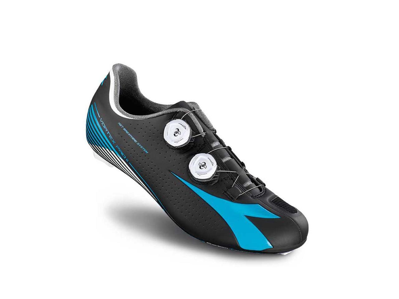 Diadora 2016 Men's Vortex Pro - II Road Cycling Shoe - Pro 170216-C6013 (Black/ Fluo Blue/White - 40) 3d9fd4