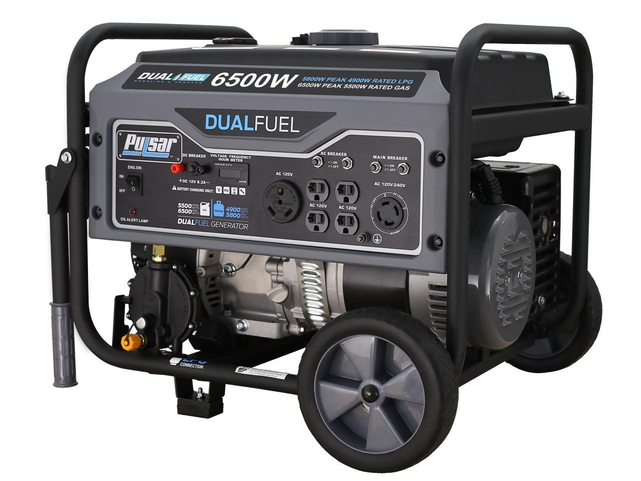 Pulsar G65BN Portable Gas/LPG Dual Fuel Generator, 5500 Rated Watts & 6500 Peak Watts, RV Ready, CARB Compliant