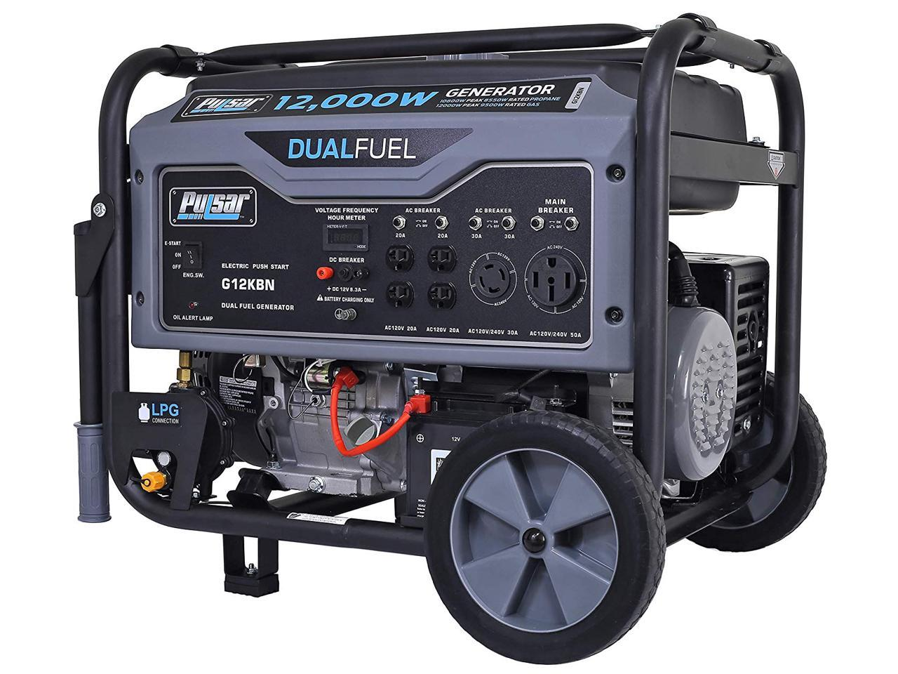 Pulsar G12KBN 12000W Heavy Duty Portable Dual Fuel Generator, 9500 Rated Watts & 12000 Peak Watts, CARB Compliant