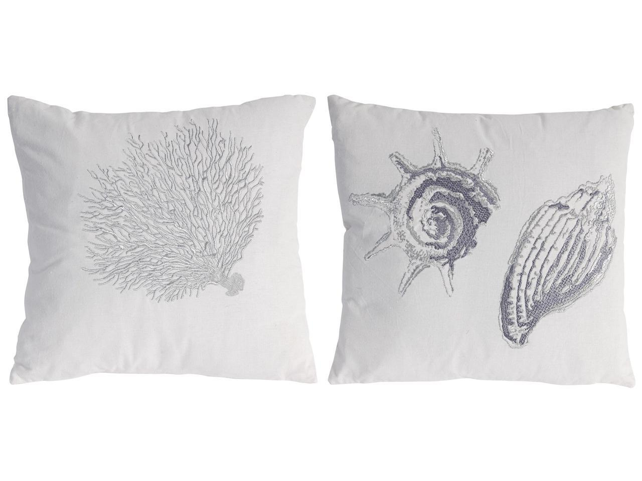 Set Of 2 Silver And White Embroidered Seashell And Coral Throw Pillows 17 5 Newegg Com