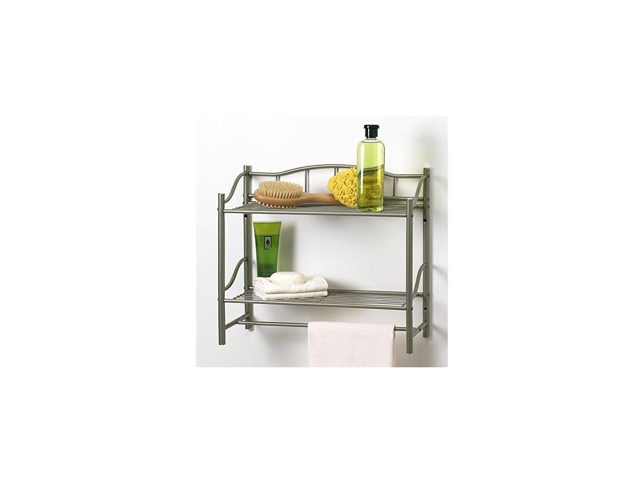 Pearl Nickel Finish Creative Bath Products Complete Collection 2 Shelf Wall Organizer with Towel Bar