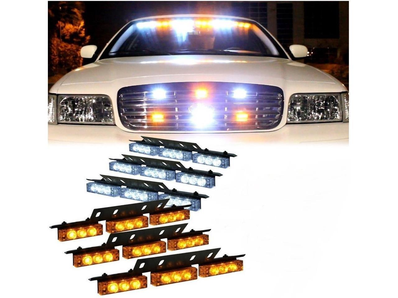 18 X LED Emergency Vehicle Strobe Lights for Front Grille Deck Warning Light 18 LED, Amber