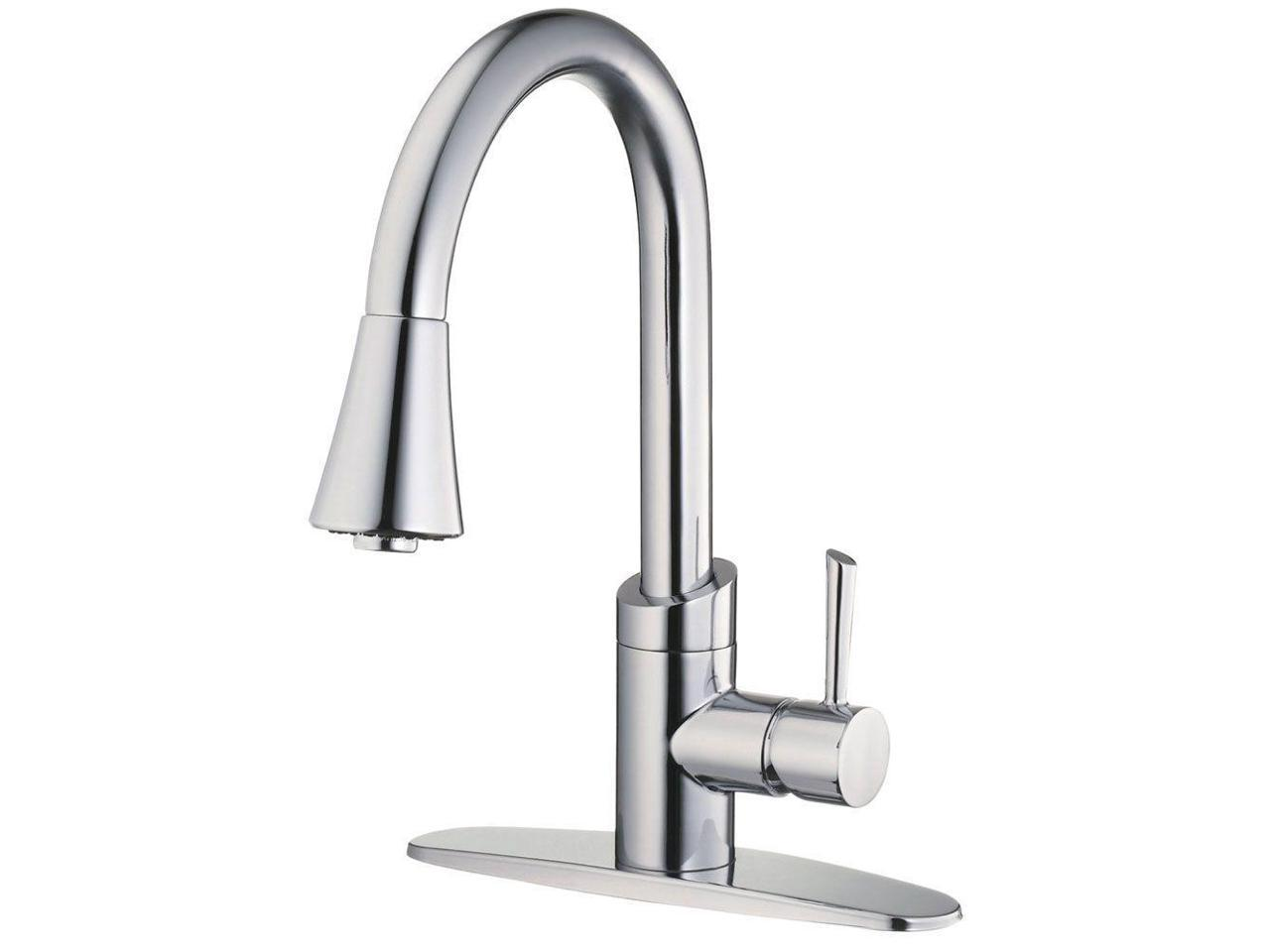 Belle Foret Sc406cp Bf406cp Single Handle Kitchen Faucet With Pull Down In Chrome Newegg Com