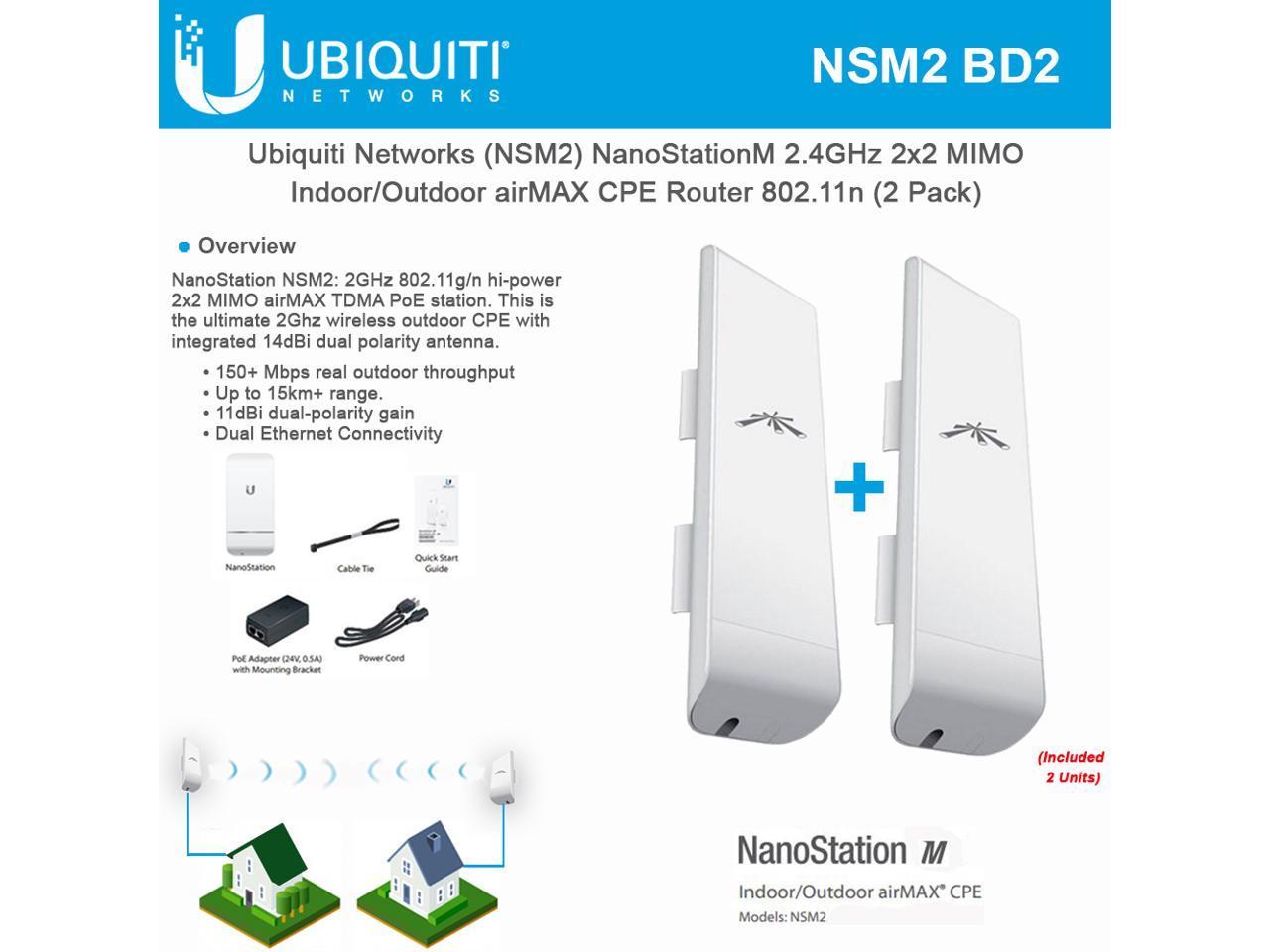 Ubiquiti NSM2 NanoStation M2 2.4GHz Indoor/Outdoor airMAX CPE 150+ Mbps  (2PACK) - Newegg.com | Nanostation M2 Wiring Diagram |  | Newegg.com