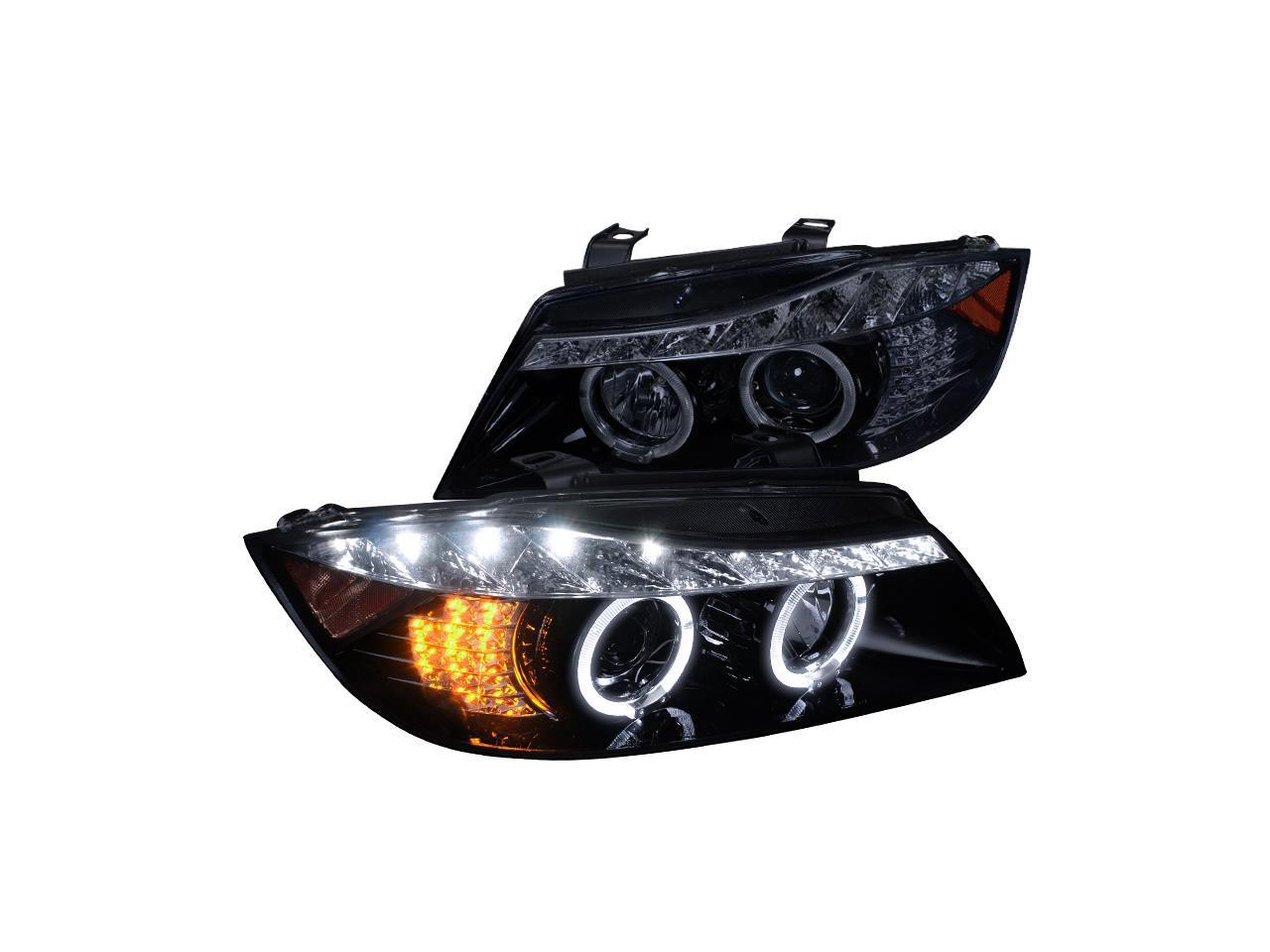 Spec D Tuning For 2006 2008 Bmw E90 3 Series Halo Led Glossy Black Projector Headlights 2006 2007 2008 Left Right Newegg Com