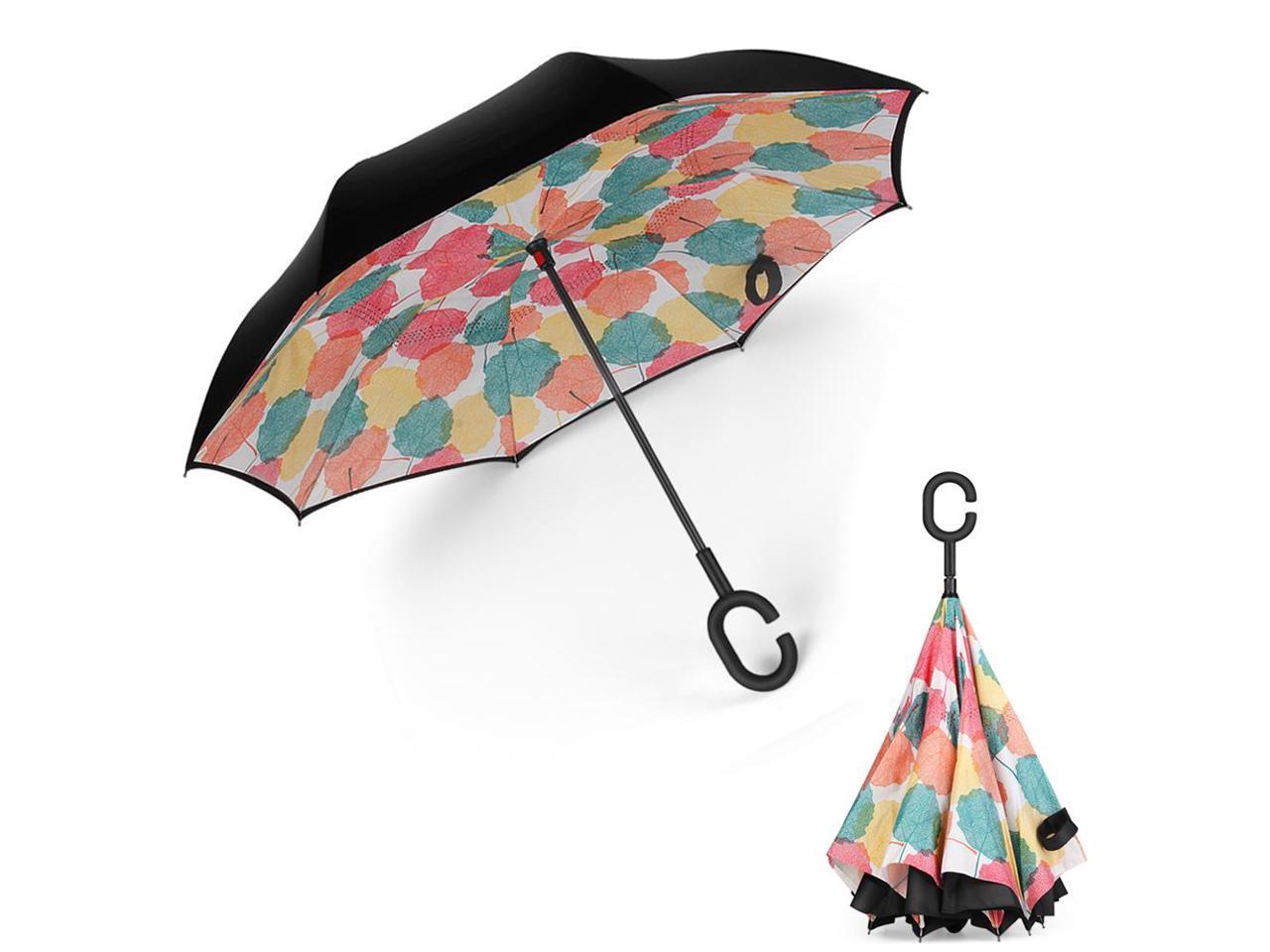 Double Layer Inverted Umbrellas with Cartoon Vegetable Garden Print Windproof Reverse Folding Umbrella for Car C-Shaped Handle Umbrella
